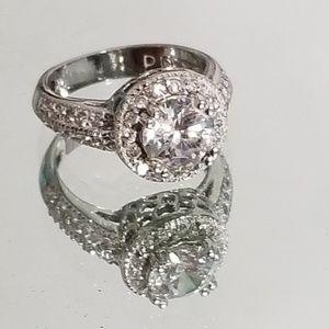 Jewelry - Round simulated diamond palladium stamped ring